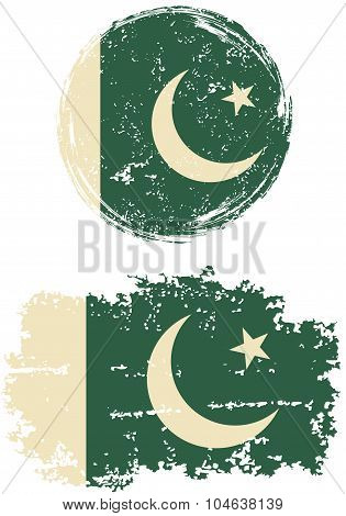 Pakistani round and square grunge flags. Vector illustration.