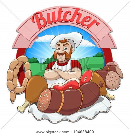 Vector illustration with meat and butcher