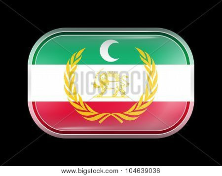 Flag Of Azerbaijan. Rectangular Shape With Rounded Corners