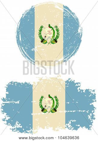 Guatemalan round and square grunge flags. Vector illustration.