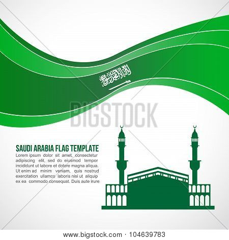 Saudi arabia flag wave and Mecca Landmarks