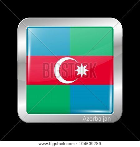 South Azerbaijan Flag. Metalic Icon Square Shape