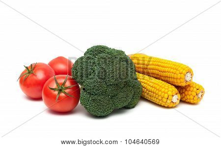 Tomatoes, Broccoli And Corn On The Cob Isolated On White Background