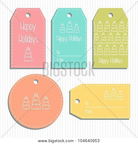 Multicolored Christmas Gift Tags. Ready To Use. Christmas Greeting. Vector