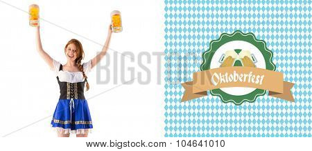 Oktoberfest girl holding jugs of beer against oktoberfest graphics