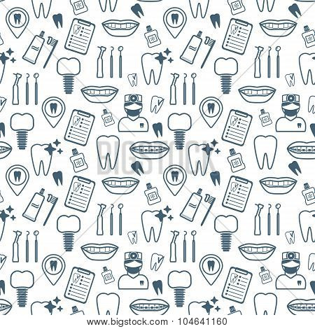 Dental Seamless Pattern. Dark Blue Linear Icons. Flat Design. Vector