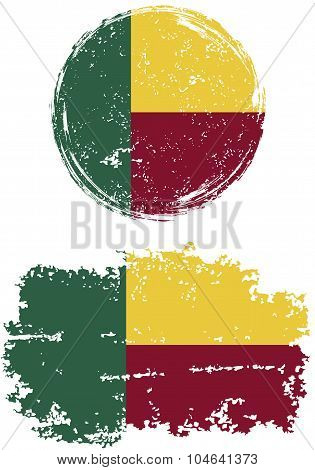 Benin round and square grunge flags. Vector illustration.