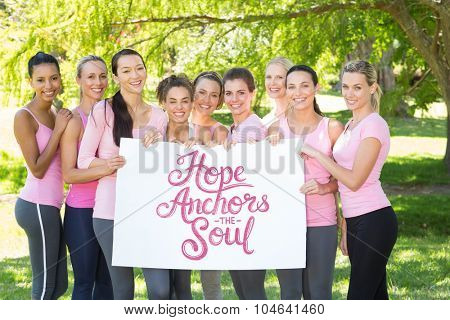hope anchors the soul against smiling women in pink for breast cancer awareness