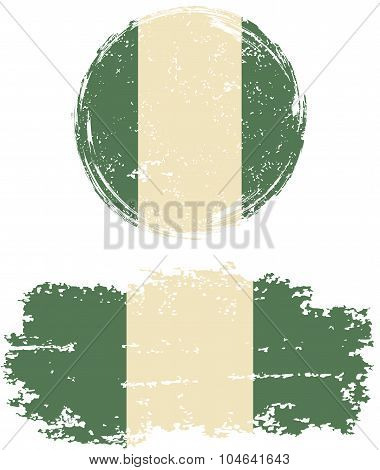 Nigerian round and square grunge flags. Vector illustration.