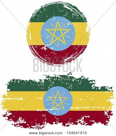Ethiopian round and square grunge flags. Vector illustration.