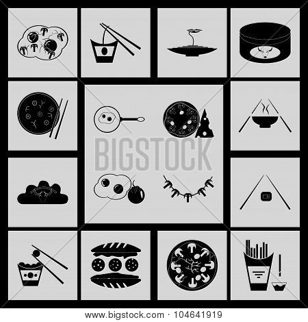 Flat in black and white concept Eastern fast food