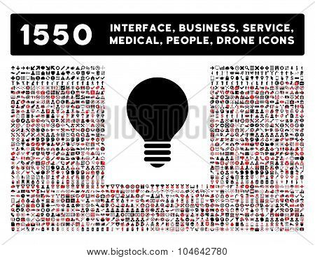Electric Bulb Icon and More Interface, Business, Tools, People, Medical, Awards Flat Vector Icons