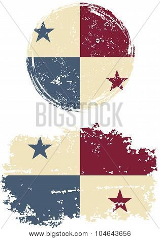 Panamanian round and square grunge flags. Vector illustration.