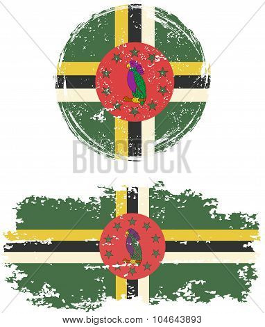 Dominica round and square grunge flags. Vector illustration.
