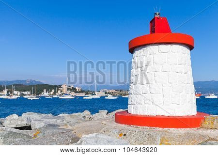 Red And White Lighthouse Tower, Corsica, France
