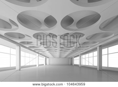 White 3D Interior With Round Pattern In Ceiling