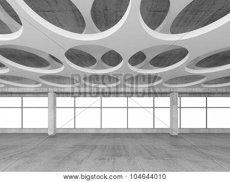 Empty Concrete Interior Background, 3D Render