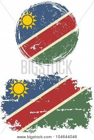 Namibian round and square grunge flags. Vector illustration.