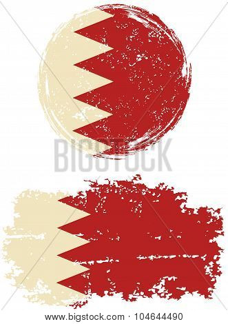 Bahraini round and square grunge flags. Vector illustration.