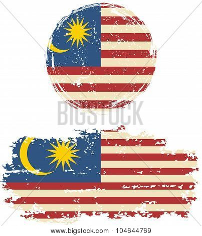 Malaysian round and square grunge flags. Vector illustration.
