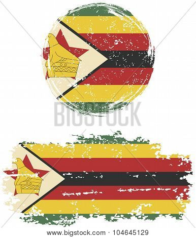 Zimbabwean round and square grunge flags. Vector illustration.