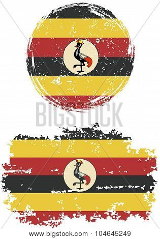Ugandan round and square grunge flags. Vector illustration.