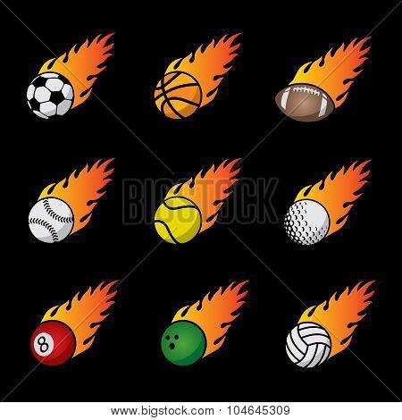 Fire Sport Balls Vector Template Set