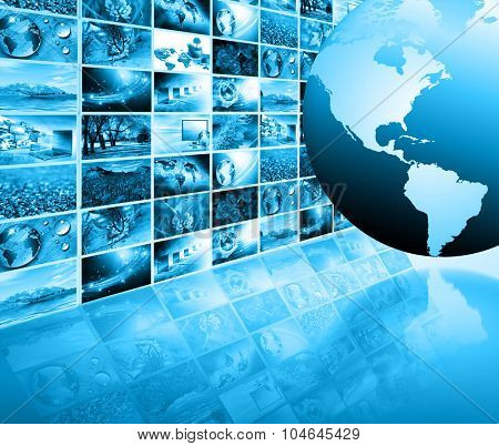 World map on a technological background, glowing lines symbols of the Internet,  television and satellite communications. Internet Concept of global business. Elements of this image furnished by NASA