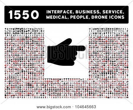 Index Finger Icon and More Interface, Business, Tools, People, Medical, Awards Flat Vector Icons