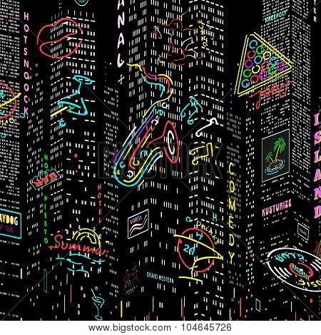 Background City Nightlife Vector