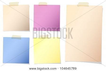 Set of various colors note papers with adhesive tape on white background