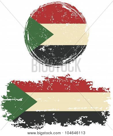 Sudanese round and square grunge flags. Vector illustration.
