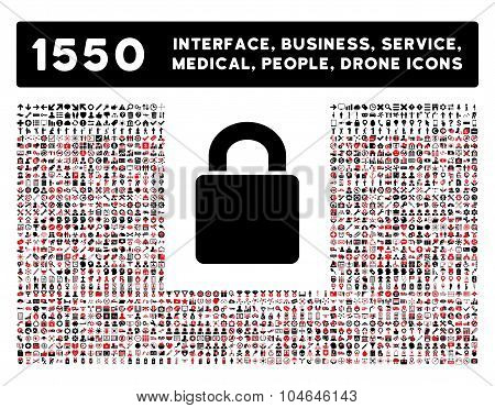 Lock Icon and More Interface, Business, Tools, People, Medical, Awards Flat Vector Icons