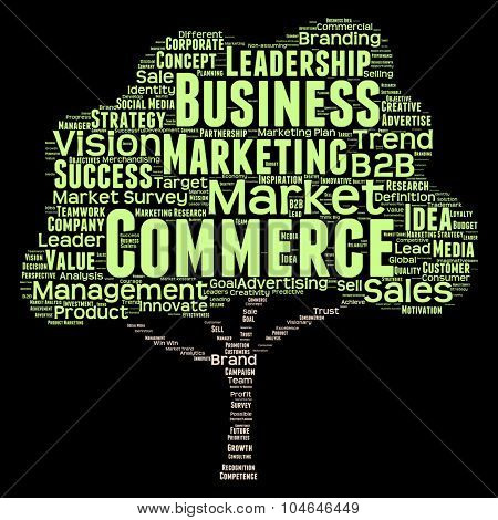 Concept or conceptual green tree leadership marketing or business word cloud isolated on black background wordcloud