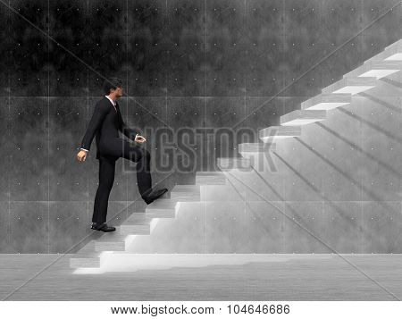 Concept or conceptual 3D man or  businessman climbing on a stair or steps near a wall background