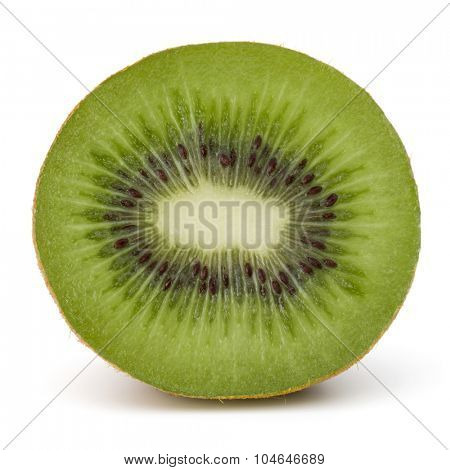 Sliced Kiwi fruit half  isolated on white background cutout