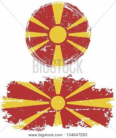 Macedonian round and square grunge flags. Vector illustration.