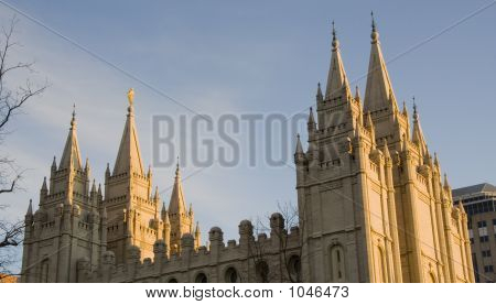 Salt Lake Temple Spires From The North At Dusk
