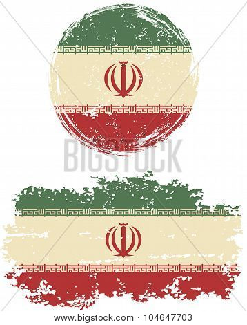 Iranian round and square grunge flags. Vector illustration.