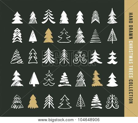 Hand drawn Christmas tree icons and elements