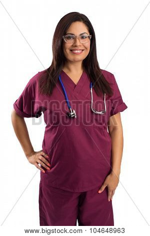 Smiling family woman doctor with stethoscope. Health care - isolated white background