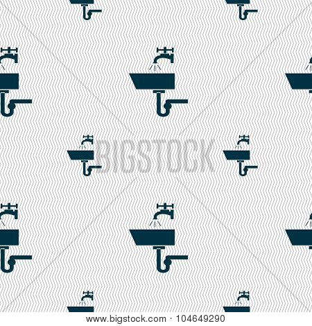 Washbasin Icon Sign. Seamless Pattern With Geometric Texture. Vector