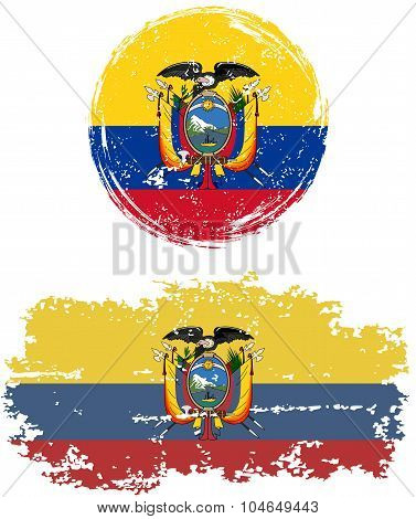 Ecuadorian round and square grunge flags. Vector illustration.