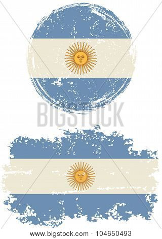 Argentinean round and square grunge flags. Vector illustration.