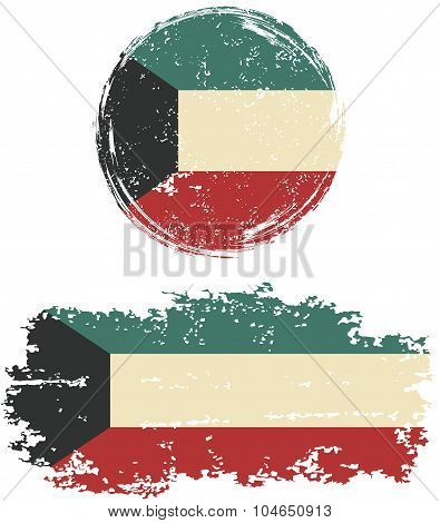 Kuwait round and square grunge flags. Vector illustration.