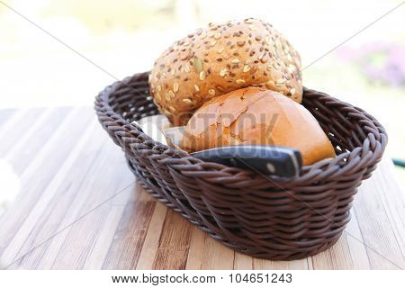 home made bread on wooden board