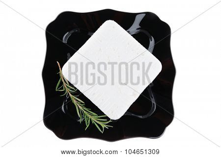 image of curd cheese on black plate