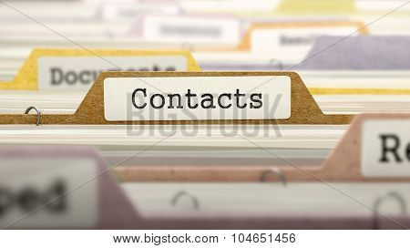 Contacts Concept. Folders in Catalog.
