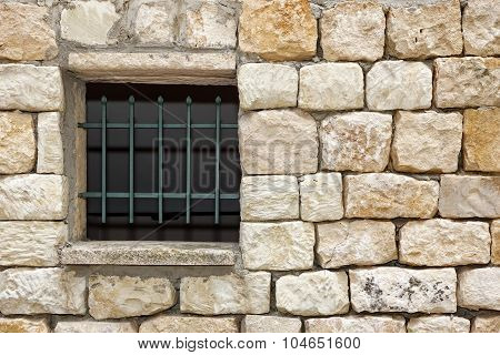 Old White Stonewall With Lattice Window Detail Background