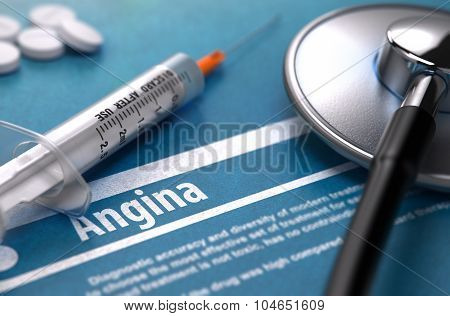 Angina - Printed Diagnosis. Medical Concept.